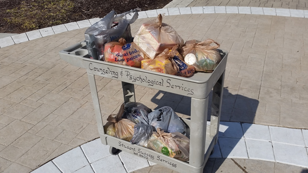 One of the many donations Zen Men made to a campus food pantry
