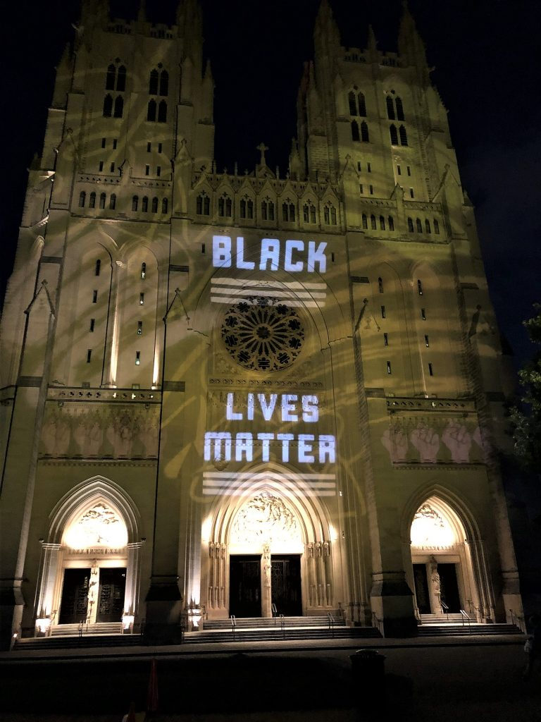 Picture of Cathedral with the words Black Lives Matter displayed on it