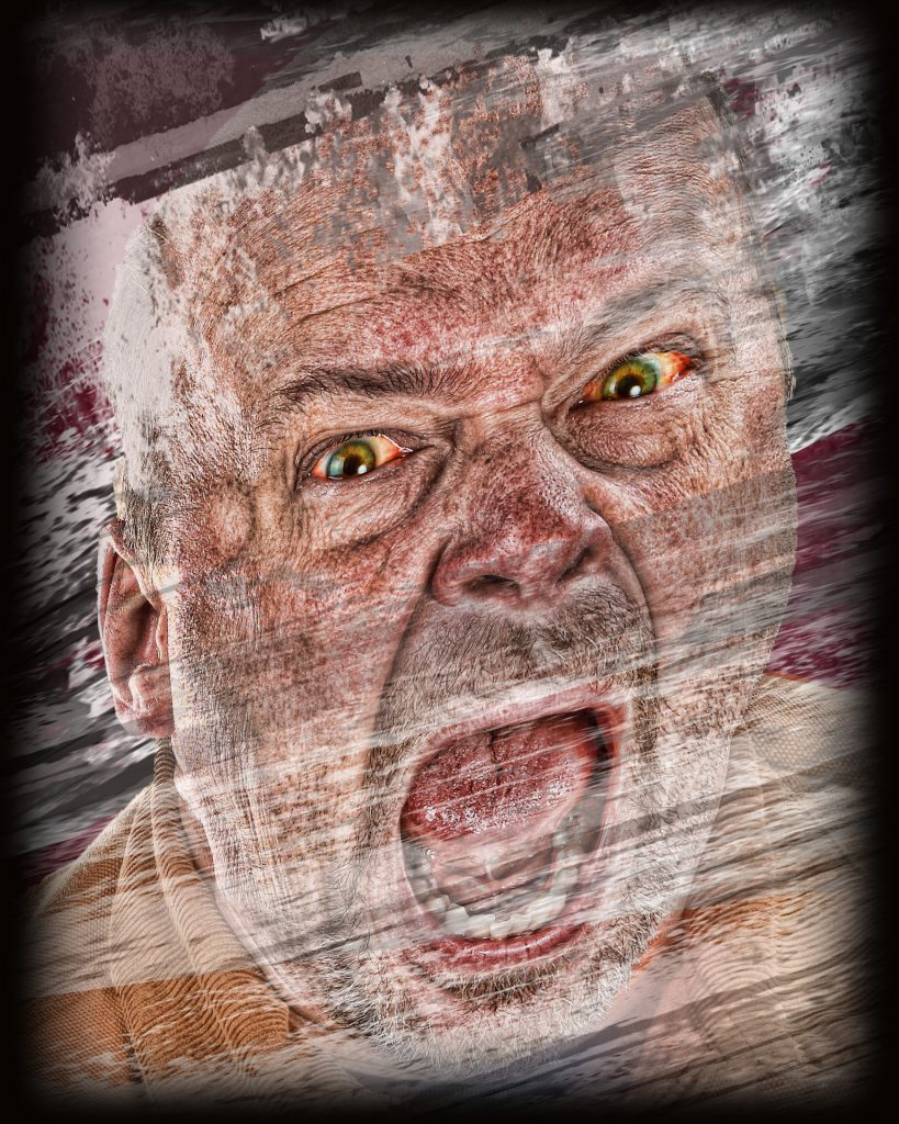 Colour drawing of an angry man's face