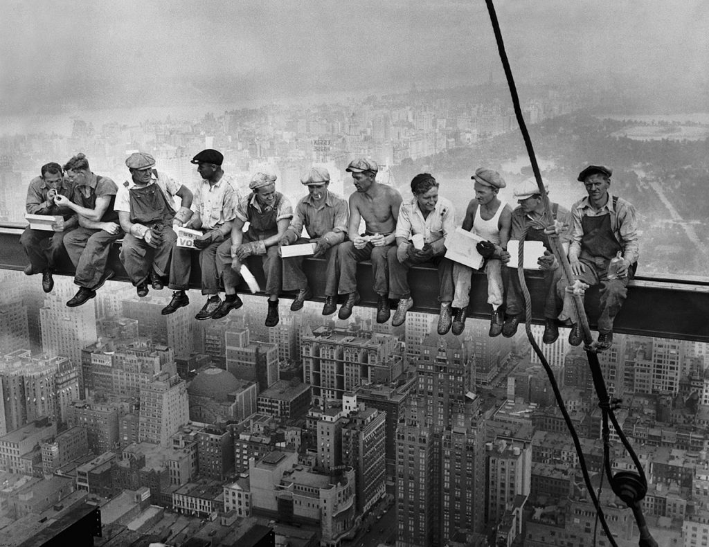 Men having lunch high above NYC while building the Empire State Building.